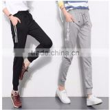 Women Jogger Pants Black Grey Casual Slim Long Pants Stripes Elastic Waist Harem Pants Female Trousers
