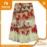 Bestway hollandis wax mix lace fabric african wax/ankara printed wax mix embroidered lace BLW020-6