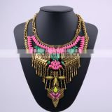 latest vintage tribal alloy resin fashion beaded jewelry necklace