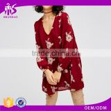 Guangzhou Shandao Latest Fashion Printing Red Chiffon Long Sleeve 100% Polyester ladies casual dresses pictures