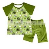 Unique fashional boys'T-shirt printed tractors tops with shorts children kids clothing sets