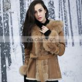 Glittering Face Coated Rex Rabbit Fur & Skin Jacket Fox Fur Collar Rex Rabbit Fur Leather Coat Ladies Real Fur Blazer