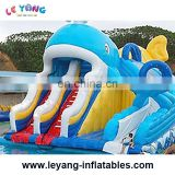 Inflatable Whale shape wet slide with pool, inflatable slide with 2 path