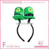 2017 New Design Funny Headbands Irish Festival Green Plush Mini Top hat Headband for Irish Party