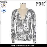 Tiger Viscose Printed Sweater Fabric Floral V Neck Cardigan 2016 Women