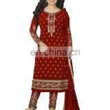 Woman's Royal Red Casual Party Wear heavy Embroidery Georgette Semi-Stitched Suits 2017 Collection (salwar kameez suits)