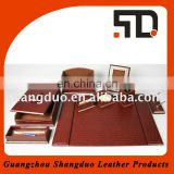 Alibaba Hot Selling Stationery Set Office Hotel Faux Leather Desk Set