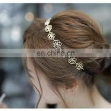 Beautiful girls metal flower chain elastic hair band hair accessories gold plated metal rose flower elastic headband women