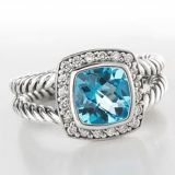 Sterling Silver Jewelry 7mm Blue Topaz Petite Albion Ring(R-002)