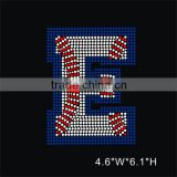 Custom Rhinestone Baseball letter E iron on transfers wholesale