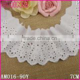 "2.75"" Welcome Customize Cotton Lace,7cm Bleach White DIY Fashion T/C Lace with Flower Pattern Applique for Sock Accessories"