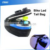 (160435) Outdoor sports multifunctional nylon USB charge bike riding tail bag with led light
