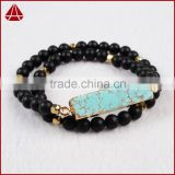 Women's Double Row Frosted Black Agate Bead & Gold Beaded Stretch Bracelet From China Gemstone Factory