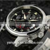 Multi-chronograph 30ATM Genuine Leather Fashion Mechanical Watch for Men