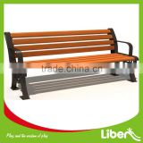 8 Slats Outdoor Public Wooden Park Bench with Cast Iron Leg