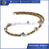BN16003 2016 new fashion gold chain tiger eye beaded skull necklace