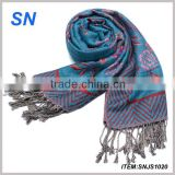 turquoise blue spring fashion floral pashmina scarf
