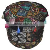Indian Patchwork Bohemian Ottoman Pouf Cover Beaded Ottoman Pouf Cover