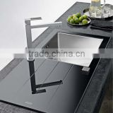 Promotional Tempered Stainless Steel SUS 304 Glass Topmounted single bowl kitchen sink(ZA01)