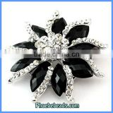 Wholesale Black Resin & Crystal Flower Shape Custom Brooches PFB-W016