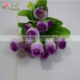 9 heads artificial rose bud with red color small rose bush