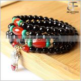 Multi-Strands Natural Black Agate Buddhist Prayer Mala Beads Wrap Necklace Bracelet with Silver peanut
