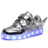 Hot selling led light kids sneaker shoes with USB charge breathable wings kids casual shoes