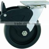 44 Series Double Ball Raceway Structure Top Plate Swivel PP Caster with Nylon Total Lock Brake