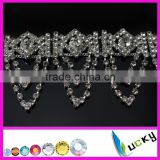 silver base bling class crystal color rhinestone flower chatons cup decorative chain for clothes shoes trimming