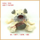 soft safety material plush dog toy with embroidery eyes