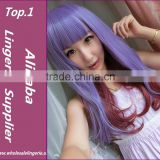 Top Quality 80cm long straight Heat Synthetic multi color Cosplay Wig