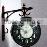 Black color Metal decoration hanging Double side wall clock with beautiful metal bracket