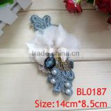 Custom wholesale vintage beautiful ribbon fabric rhinestone cloth applique for wedding dress