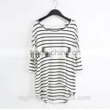 The new model fashion women t-shirt modal loose plus size long bat sleeve blouse render striped t shirt for women