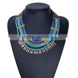 2016 Big brand women multilayer chain necklace jewelry ,blue color chain necklace