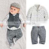 2016 Baby Boy Clothing sets Cotton Boy Suit With Vest And Grid Tops Grey Pants Infant Wear Kids Clothes Child Apparel