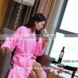 100% cotton shawl collar pink 380g/m2 velvet pile western bathrobe