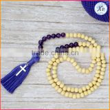 Religion Hier Hiero Wood Beads 2017 New Hot Fashion Cross Prayer 108 Beads Silver Plated Custom Tassel Necklace