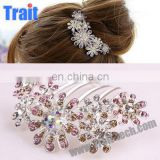 Elegant Diamond Style Headwear Hair Comb Decorated With Flower