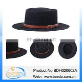 New design black color leather porkpie hat