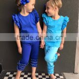plain ruffle holiday children cotton outfit , kids summer outfit , girls boutique clothing cheap wholesale
