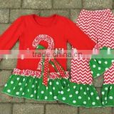 Latest design kid clothes 2016 fall girl boutique clothing polka dot printed christmas pajamas family chevron pants outfits