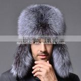 Classic Male Plush Silver fox fur Bomber Hats excellent quality Winter warm earflap Hats