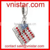 Vnistar red and blue rhinestone USA flag charm beads dangle fit european snake bracelet TB077