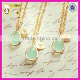 Wholesale fashion jewelry personalized 18K gold plated ininital necklace with faceted teardrop glass pendant necklaces