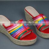 colorful rainbow girls sandals jute rope wedge heel slipper sandal shoes