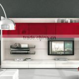 Wall Unit Modern Design Red Glass