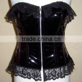 High Qulity Women's Black PVC Full Steel Boned Corset