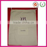 Muslin Canvas Cotton laundry string Bag (dongguan factory)