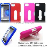 Hard shell and silicone combo kickstand case for Blackberry Z10
